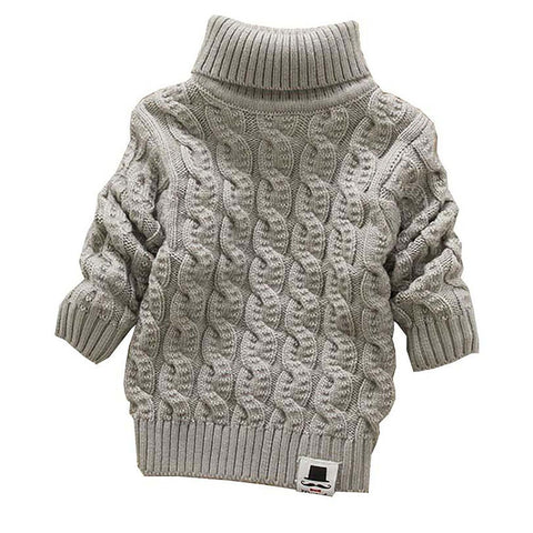 Unisex Kid's Turtleneck Sweater Bread Label Solid Soft Warm Autumn Winter