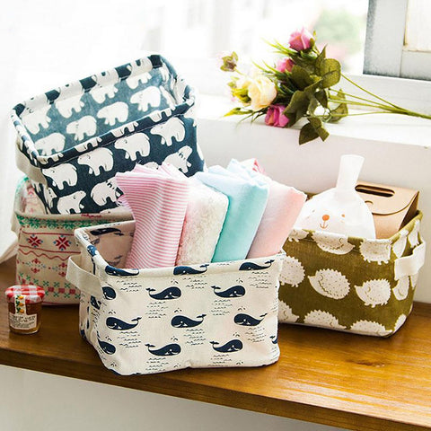 Cute Printing Cotton Linen Desktop Storage Organizer Sundries Box Cabinet Underwear Basket Fast Shipping