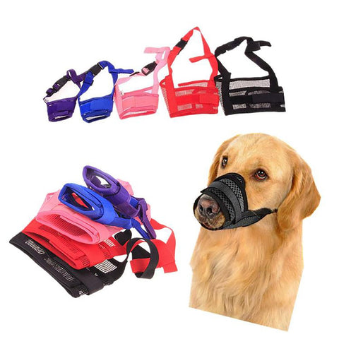 1PC Adjustable Mesh Breathable Small&Large Dog Mouth Muzzle Anti Bark Bite Chew Muzzles Training Products Pet Accessories