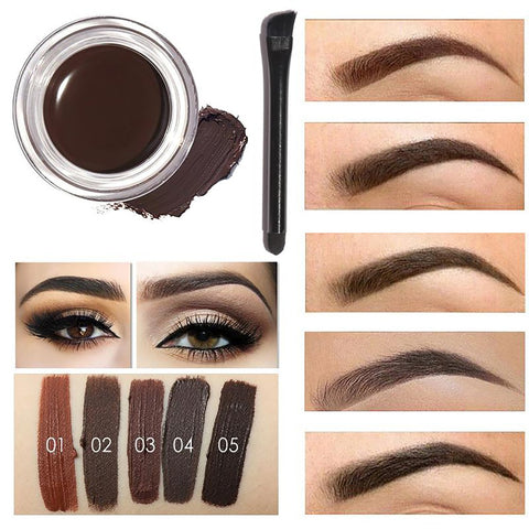 Professional Eye Brow Tint Makeup Tool Kit Waterproof High 5 Color Pigment Black Brown Henna Eyebrow Gel With Brush