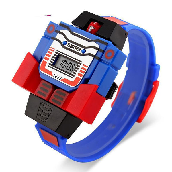 SKMEI Kids LED Digital Children Watch Cartoon Sports Watches Relogio Robot Transformation Toys Boys Wristwatches 1095