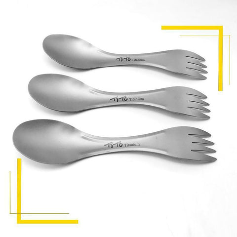 TiTo Outdoor Camping Picnic Titanium Spoon Tableware Fork Ultralight Pure Spork