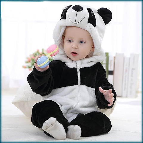 Unisex Children's 0-24 months One-piece Footed Pajamas Soft Flannel 3D Animal Sleepwear