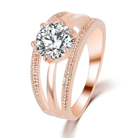 Women's Engagement Ring with Austrian Crystals Flower Bague Design Wedding Ring