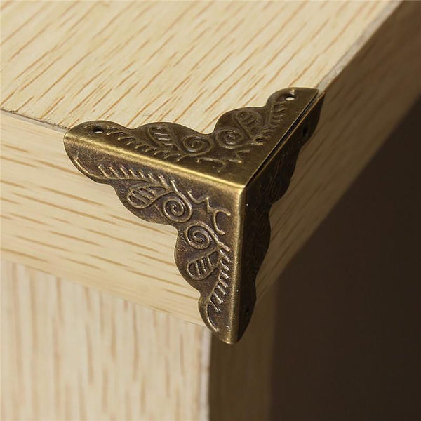 10Pcs Antique Jewelry Box Corner Foot Wooden Case Protector Bronze Tone Flower Pattern CarvedMetal Crafts 10 X 25mm