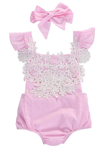 Baby Gir's Jumpsuit with Headband Set Floral Lace
