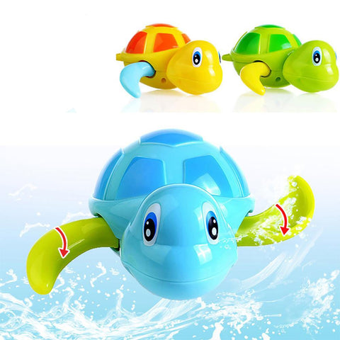Newborn Cute Cartoon Animal Tortoise Baby Bath Toy Infant Swim Turtle Chain Clockwork Classic Toys Kid Educational