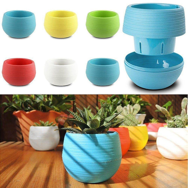 Mini Colourful 1pcs 7*6.5CM Cute Round Home Garden Office Decor Planter Plastic Plant Flower Pots Supplies Free Shipping