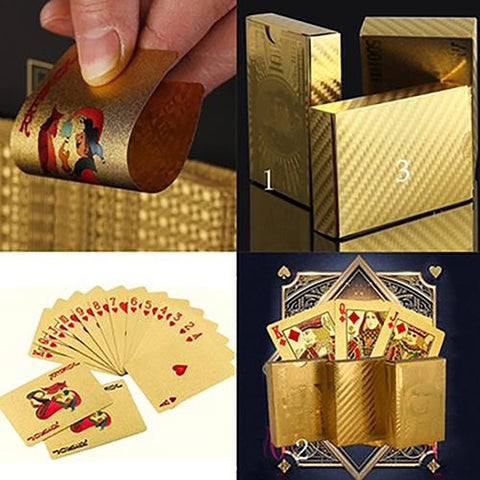 Poker Playing Cards Gold Foil Dollar EUR Plaid Pattern Party Game