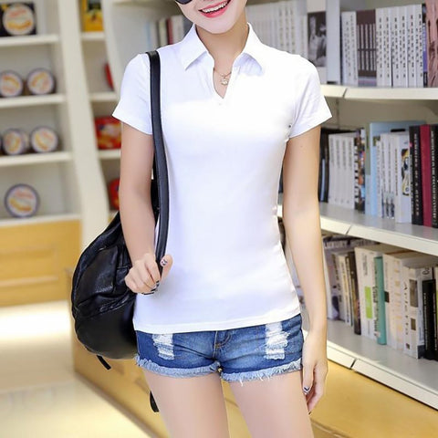 Women's Polo Shirt Slim Cotton Anti-pilling Solid Color Tum-down Collar Short Sleeves