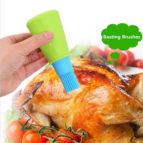 Oil Bottle Brush Tool Heat Resistant Silicone Cleaning Basting for Grill Barbecue Cooking