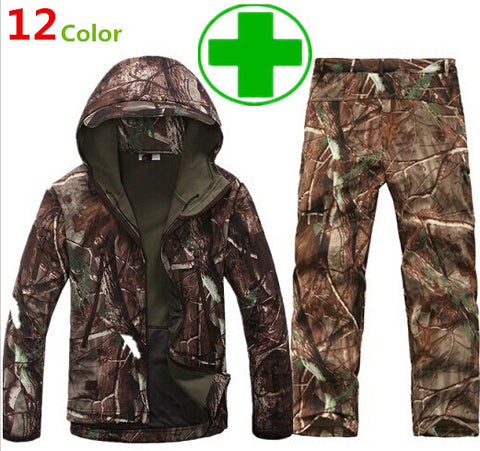 Camouflage Hunting Clothes (Jacket+Pants) Lurker Tad V 4.0 Shark Skin Soft Shell Outdoor Tactical Military Fleece