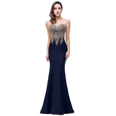 Women's Long Dress Sheer Gold Applique Mermaid Style for Wedding Bridesmaid Party