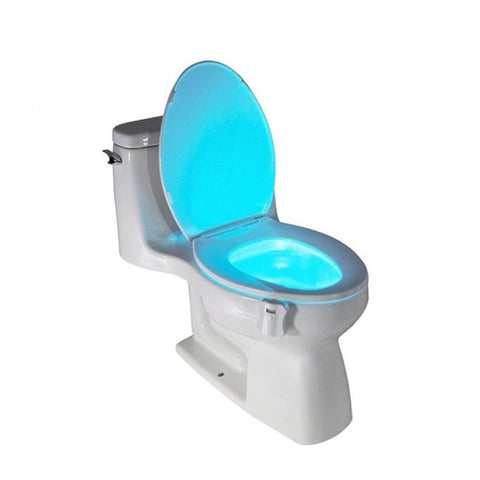LED Sensor Activated Toilet Bowl Cover PIR Seat with Body Motion Sensor Lamp