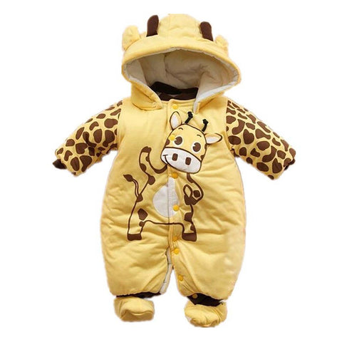 Unisex Baby's Jumpsuit Hooded with Shoes Layette Down Winter Snow