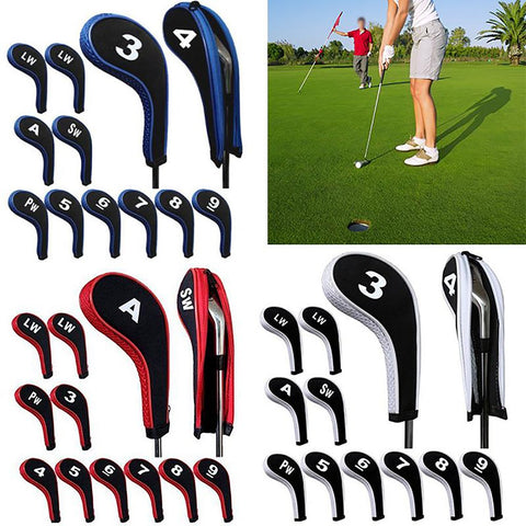 High Quality 12Pcs Rubber Neoprene Golf Head Cover Club Iron Putter Protect Set Number Printed with Zipper Long Neck