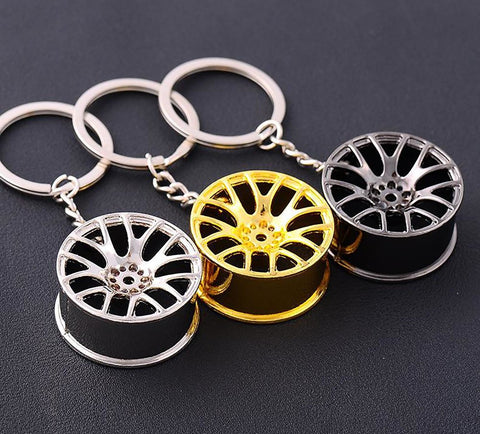 Car Styling Metal Keychain Cool Luxury Wheel Hub Key Ring Fit For BMW VW Audi Toyota Honda Ford Holder Accessories