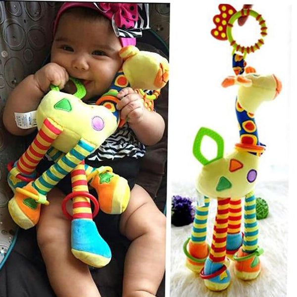Plush Infant Baby Development Soft Giraffe Animal Handbells Rattles Handle Toys Hot Selling WIth Teether Toy
