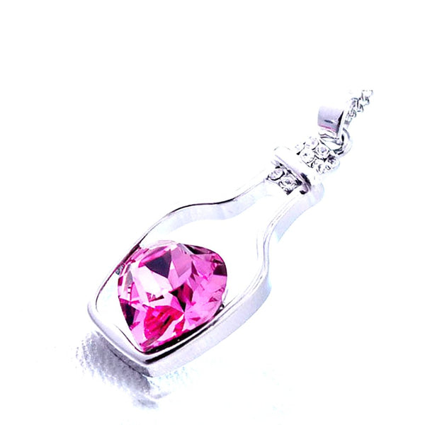 Women's Necklace Heart Crystal Pendant Love Drift Bottles