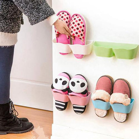 Stand Wall Holder for Shoes Plastic Self-adhesive Display Organizer