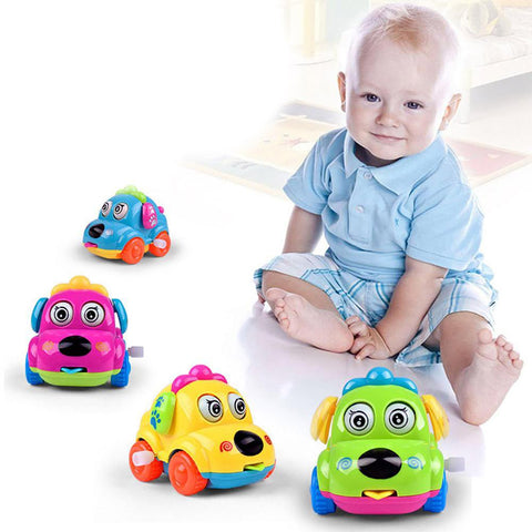 Baby's Clockwork Dog-Style Car Toy Cartoon Educational Crawling Running Classic