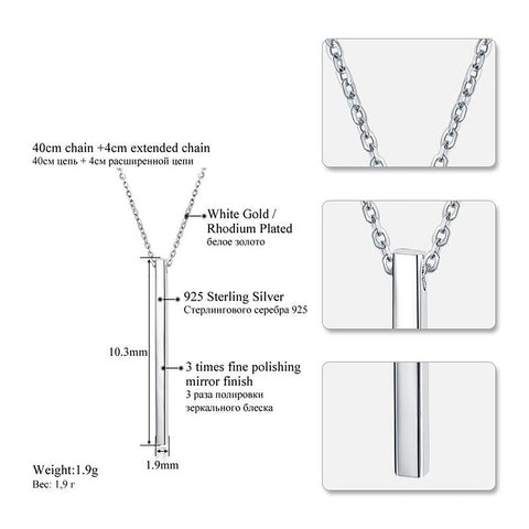 Women's Choker Necklaces Sterling Silver Bar Pendant Fine Jewerly