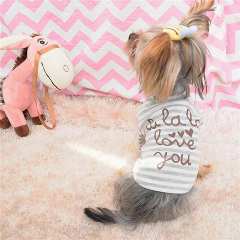 Striped Top Macaron Yorkie Dog Hoodie Autumn/winter Wear Pet Vest Clothes Clothing for Dogs 16ZF75