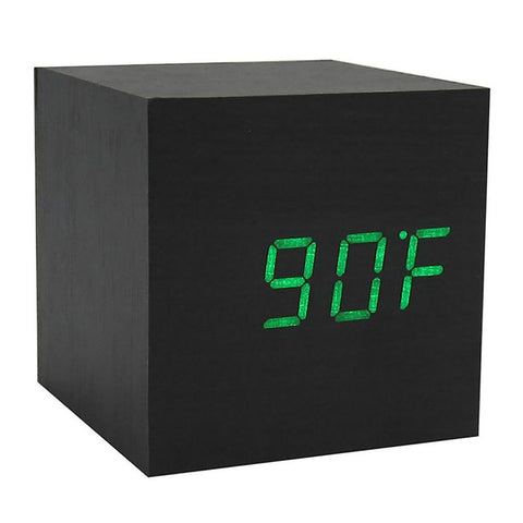 Table Alarm Clock Multicolor Sound Control Wooden Square LED Digital Thermometer USB/AAA Date Display