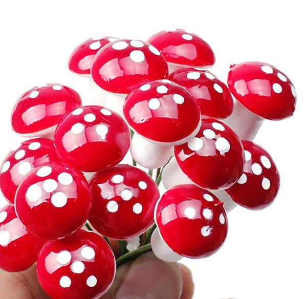 Mini Red Mushroom Garden Ornament Miniature Plant Pots Fairy DIY Dollhouse Landscape Bonsai Gardening Decor 50pcs/Lot