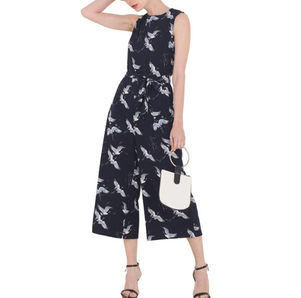Women's Jumpsuit Ankle Lenght Regular Sashes Decorated Sleeveless O-Neck