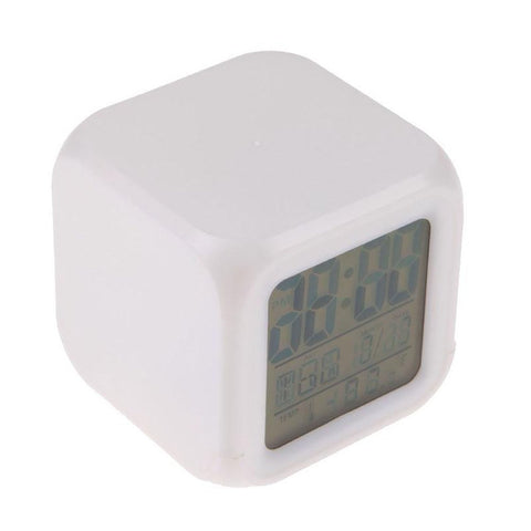 Color Change Multi-function LED Glowing Digital Alarm Clock Watch Thermometer Desktop Cube