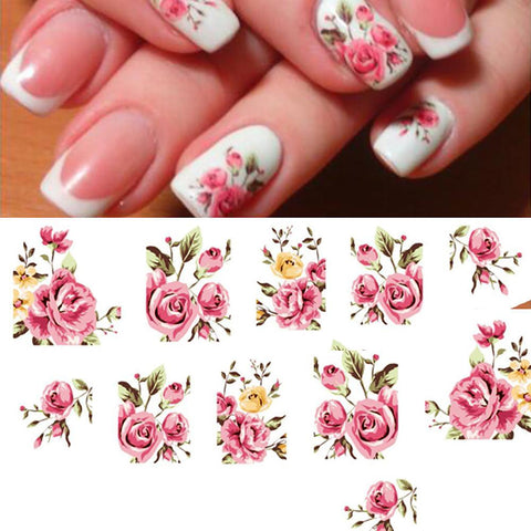 Nail Water Transfer Stickers Decals Tip Decoration DIY Rose Flower Design 1 Sheet