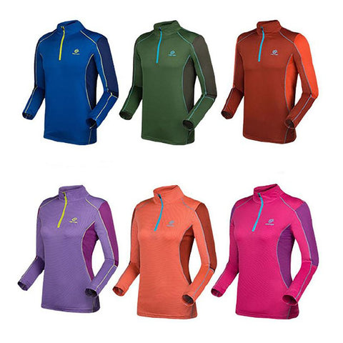 Unisex Adult's T-shirt Summer Long Sleeve with Zipper Outdoor Quick Dry Hiking Sports