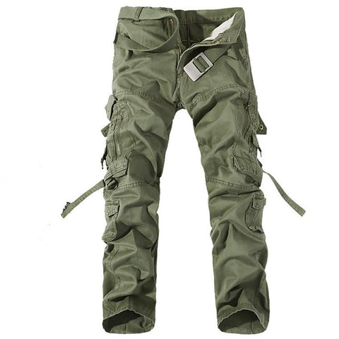 Men's Cargo Pants Big Pockets Full-length Loose Mid-waist Casual Flat-front Army Easy Wash Tactical
