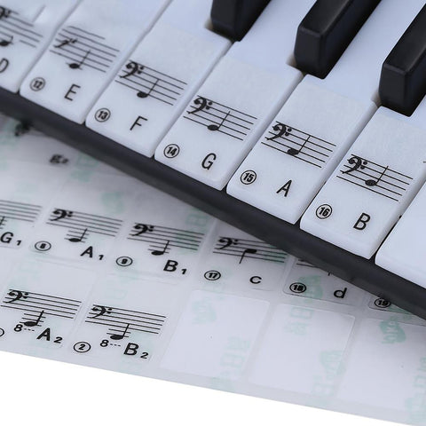 Transparent Piano Keyboard Sticker 49/61 Electronic 88 Stave Note for White Keys