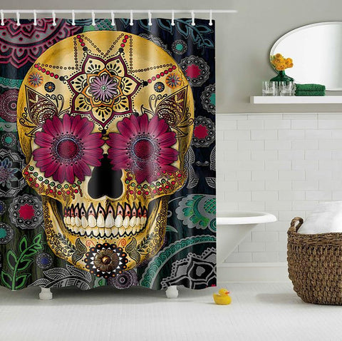 Shower Curtain Cartoon Colored Skull Design Waterproof Polyester Fabric 12 Hooks