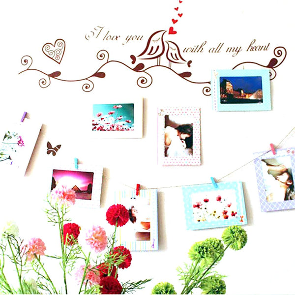 "1x Photo Frame Set 8pcs 6"" Hanging Picture Frames + Wood Clips Rope"