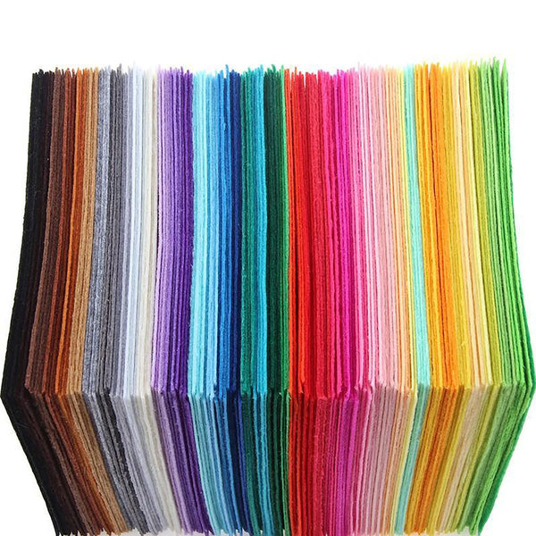Non Woven Felt Fabric 1mm Thickness Polyester DIY Bundle For Sewing Dolls Crafts 15x15cm 40pcs/pack