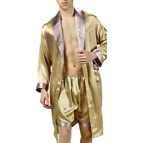 YIER Brand Male Sleepwear Robes Long-Sleeve Shorts Men Pyjamas Pajama Sets Pants 100% Silk Pajamas Set YE2508
