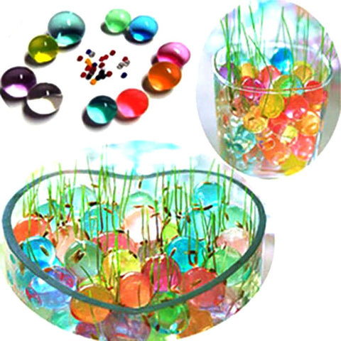 100 Pcs Pearl Shaped Crystal Soil Water Beads Mud Grow Magic Jelly Balls Home Decor Aqua Wholesales Hydrogel