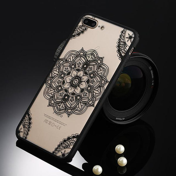 Sexy Retro Floral Phone Case For Apple IPhone 7 6 6s 5 5s SE Plus Lace Flower Hard PC+TPU Cases Back Cover Capa IPhone7Plus