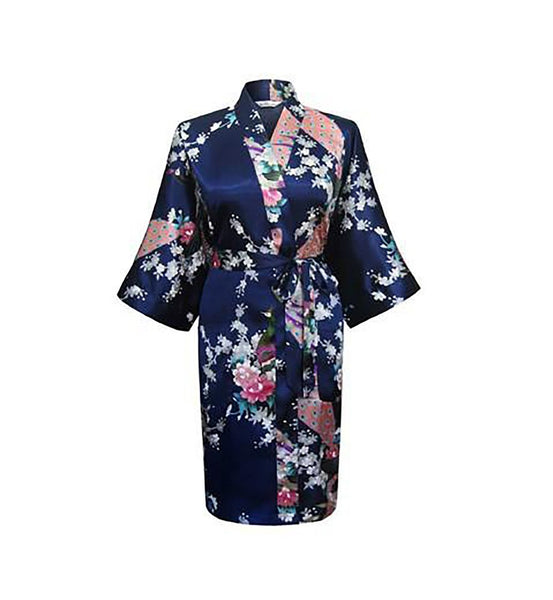 Women's Robe Faux Silk Satin Knee Length Half Sleeve Knitted Floral Short for Wedding Bride Bridesmaid