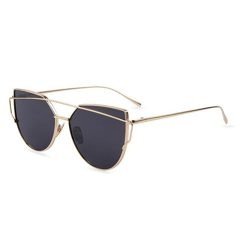 Unisex Adult's Sunglasses with Bag Cloth Light Weight Mirror Lenses Alloy Frame Polycarbonate Safe UV400 Flat Cat Eye Designer Twin-Beams