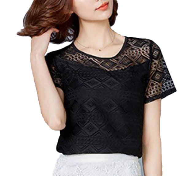 Women's Shirt Chiffon Lace Short Sleeves Hollow Out Regular O-neck
