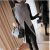 Women's Turtleneck Cardigan Sleeveless Long Split Autumn Winter Cotton