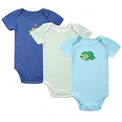 Baby Bodysuits 3pcs 100% Cotton Printed Jumpsuit Short Sleeves