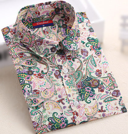 Women's Shirt Floral Long Sleeve Cotton Regular Vintage Button Decorated Turn Down Collar