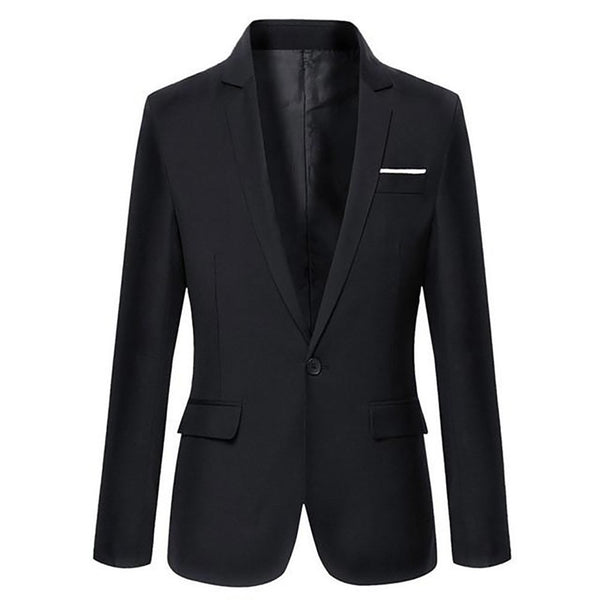 Men's Blazer Slim Casual Single Button Cotton Long Sleeves Solid Color