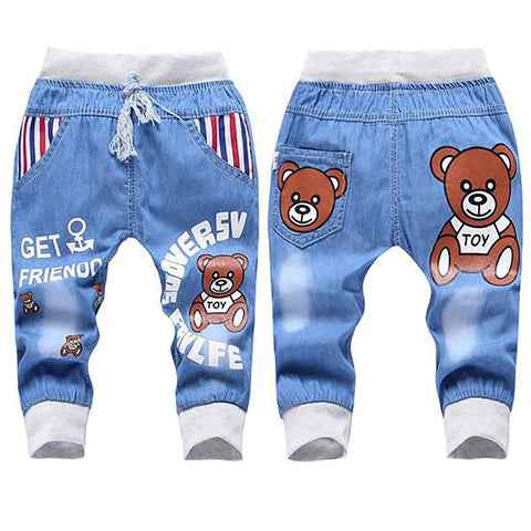 Unisex Kid's Jeans Elastic Waist Straight Cartoon Denim