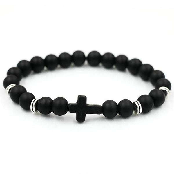 Unisex Bracelet Natural Stone Cross Hand Work Onyx Volcano Matte Beaded